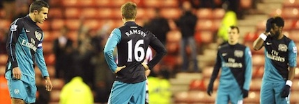 Shell-shocked Arsenal players after the defeat at Sunderland